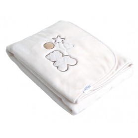 Luxury blanket with embroidery beige 80*110 cm