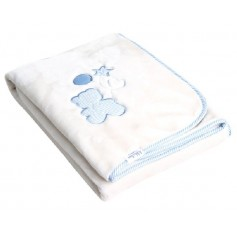 Luxury blanket with embroidery blue 80*110 cm