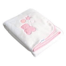 Luxury blanket with embroidery pink 80*110 cm