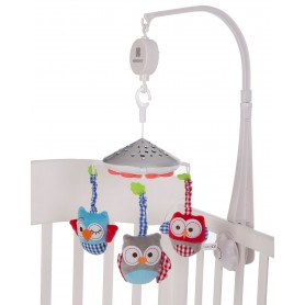 Carrusel musical con proyector Owls Blanco