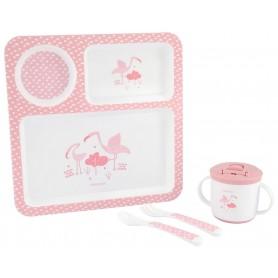 Juego de vajilla 4pcs Flamingo Rosa