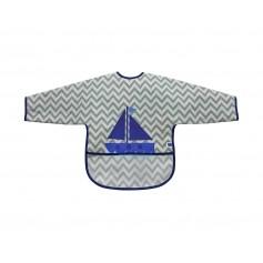 Babero de manga larga con recogemigas Boat Grey