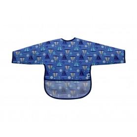 Babero de manga larga con recogemigas Boats Blue